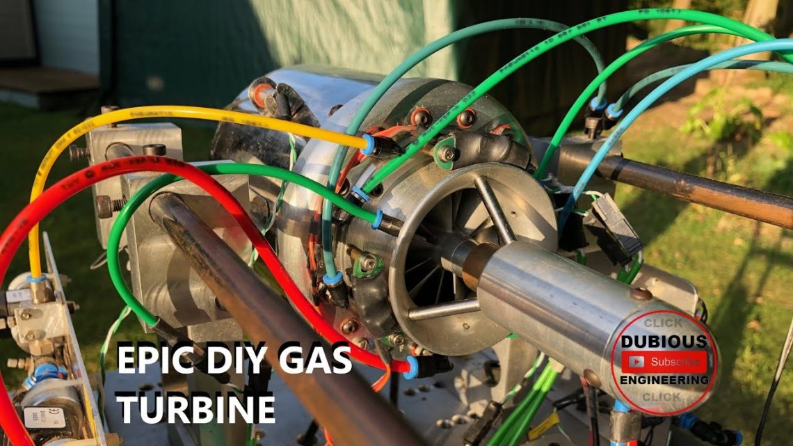 DuB-EnG: AMAZING JET ENGINE with Centrifugal Compressor Axial Flow Gas Turbine ALL HOME MADE